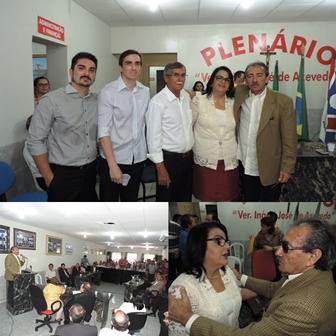 José Adécio, prefeita Márcia Nobre, ex-prefeito Dr. Titi, Francisco e Thiago Nobre