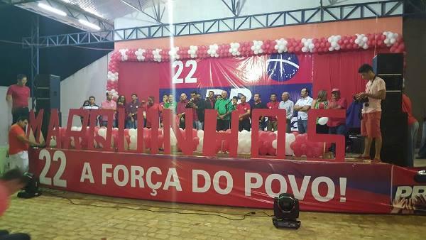 Convenção que homologou as candidaturas de Marquinhos e Minoca na praça de eventos