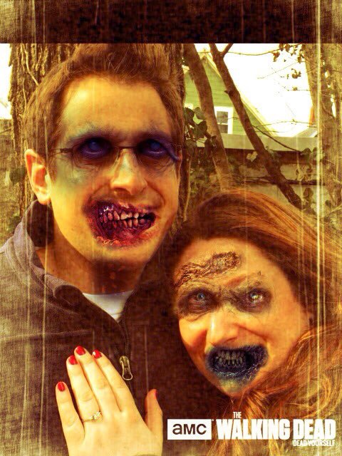 My zombie engagement photo created with AMC's Dead Yourself App.