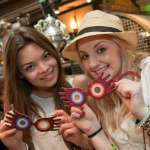 Irish actresses Scarlett Byrne and Evanna Lynch, known for their roles as Pansy Parkinson and Luna Lovegood in the Harry Potter film series, stopped to try on a pair of Spectrespecs at Dervish & Banges at Universal Orlando Resort.