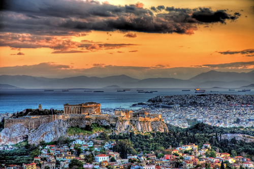 Entardecer em Atenas