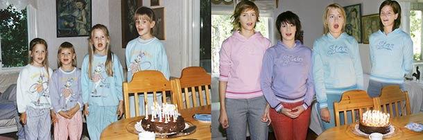 Quatro irmãs recriam suas fotos de infância
