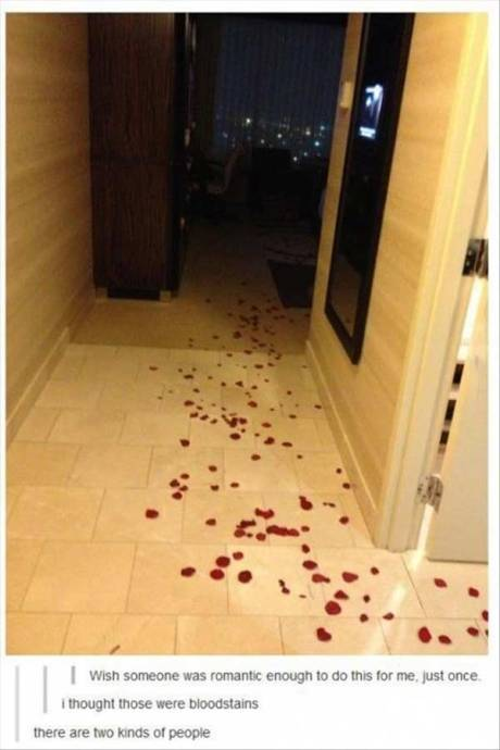 "Rose Petals Leading to the Bed: ""Wish someone was romantic enough to do this for me, just once."" ""I thought those were bloodstains."" ""There are two kinds of people..."""