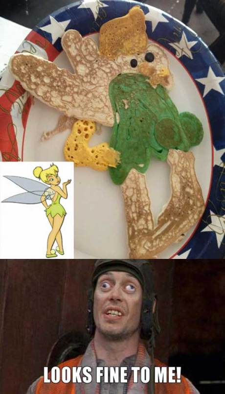 "Tinkerbell Pancake Fail: ""Looks fine to me!"""