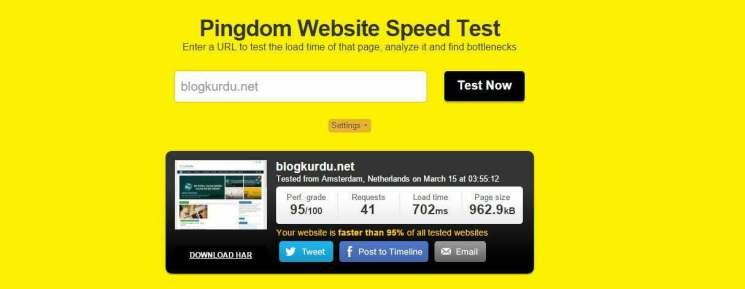 Pingdom Tools sonuçlarına göre ilk halinden çok çok daha hızlı bir Blog Kurdu var! 702 milisaniye açılış hızı.