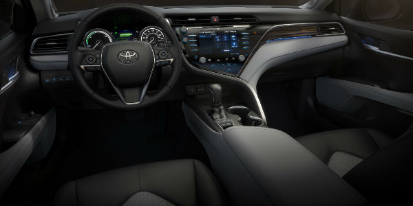 Black 2018 Toyota Camry Front Seat Interior And Dashboard With  Entune 3.0