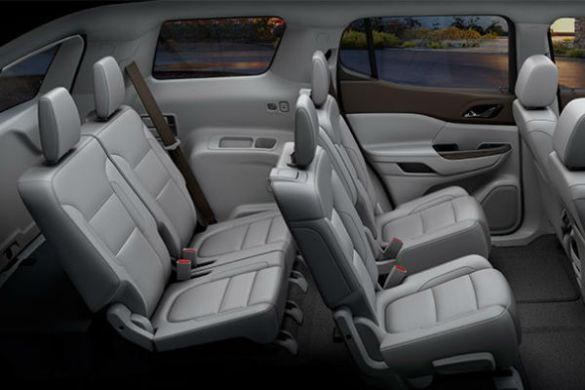 How many passengers does the 2017 GMC Acadia Hold  How much room is in the 2017 GMC Acadia