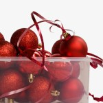 container of red christmas baubles
