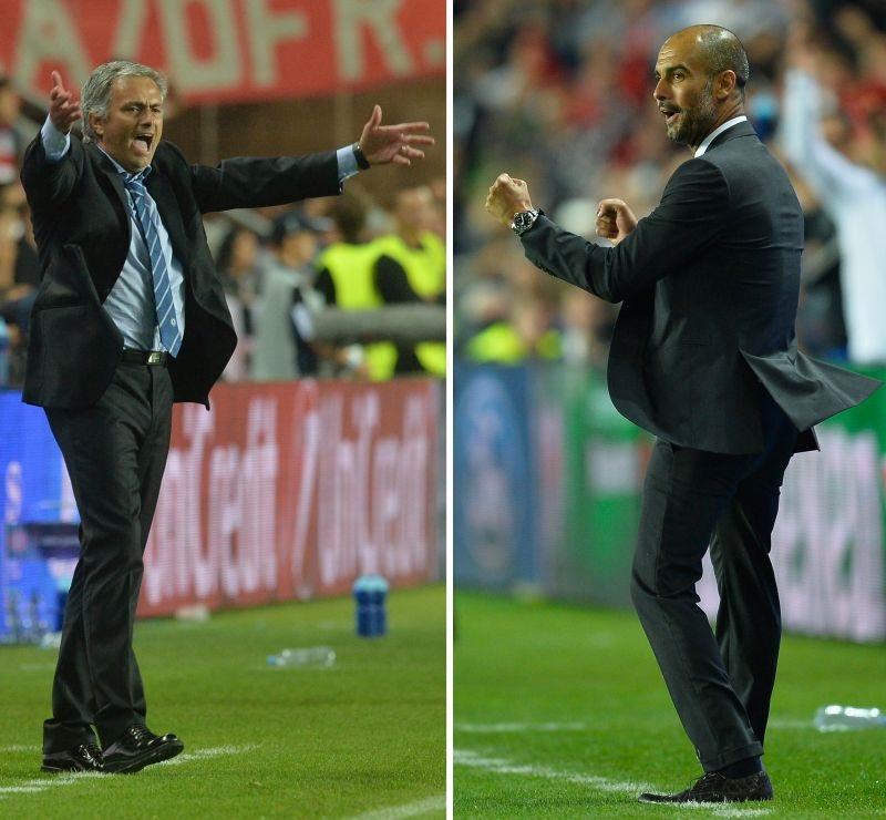 José Mourinho e Pep Guardiola duelam hoje, às 8h, em Pequim. Imagem: AFP PHOTO / MICHAL CIZEK / ODD ANDERSEN