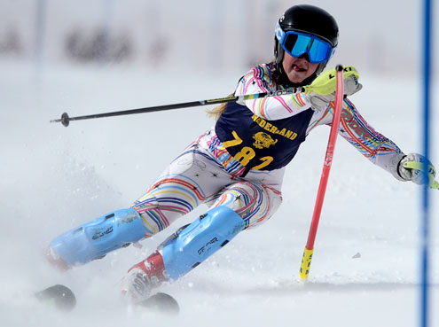Nederland's Sophie Defries skis the Slalom during the 2014 State Skiing Championship at Eldora Mountain Resort in Nederland, Colorado Feb. 14, 2014.  (Mark Leffingwell, Daily Camera)