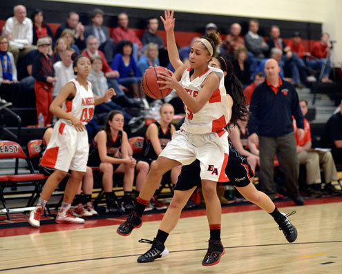 East senior guard Michelle Cox (3) handled an inbound pass in the second half. The Denver East High School girl's basketball game defeated Fairview 68-53 on Feb. 28, 2014. (Karl Gehring, The Denver Post)