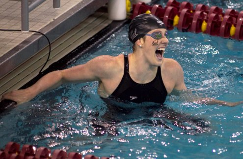 California's Missy Franklin celebrates after winning the 200-yard freestyle at he NCAA women's swimming and diving championships in Minneapolis, Friday, March 21, 2014. (Andy Clayton-King, The Associated Press)