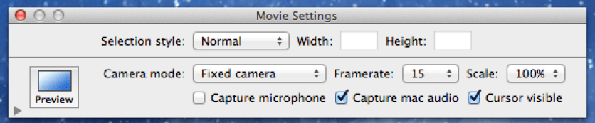 Snapz movie options