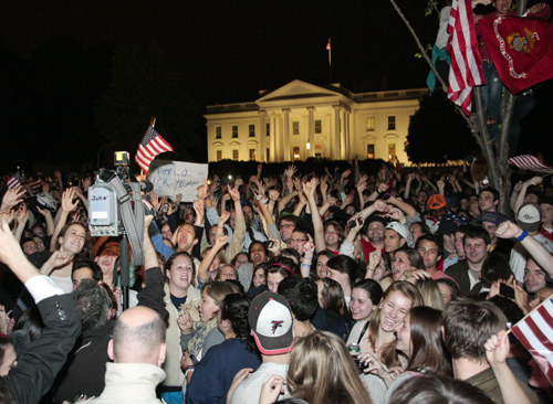 Students swarmed the White House after Osama bin Laden's killing in 2011. Hatchet File Photo