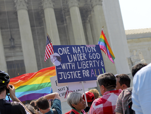Gay marriage supporters outside the Supreme Court last spring. Hatchet File Photo.