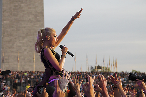 Gwen Stefani, the lead singer of No Doubt, performed during the Global Citizen Festival on the National Mall on Saturday. Jordan McDonald | Hatchet Staff Photographer