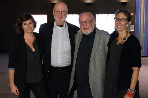 """Director Hannah Jayanti, illustrator Jules Feiffer, author Norton Juster and producer Janice Kaplan at the New York premiere of """"The Phantom Tollbooth: Beyond Expectations."""" Photo by Alexander Porter."""