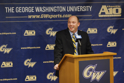 Head coach Jonathan Tsipis speaks at his introductory press conference in 2012.  Hatchet File Photo.