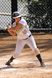 Then freshman Victoria Valos steps up to bat in a GW home game. Hatchet File Photo.