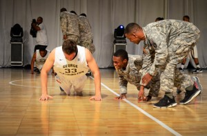 Then-men's basketball freshman Paris Maragkos competes in Colonial Invasion's military challenge in 2012. Hatchet File Photo