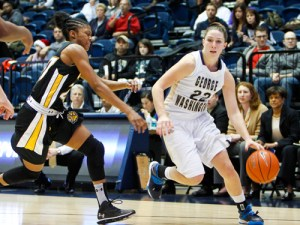 Graduate student Megan Nipe heads toward the basket against Towson on Saturday. Andrew Goodman | Hatchet Photographer
