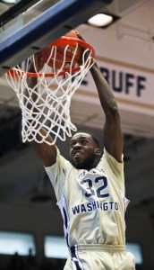 Senior Armwood sends home a dunk earlier this season. Hatchet File Photo