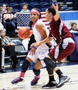 Junior guard Chakecia Miller battles a defender earlier this season. Hatchet File Photo