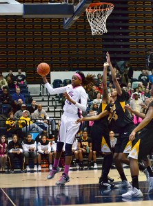 Star forward Jonquel Jones charges to the basket earlier this season. Hatchet File Photo
