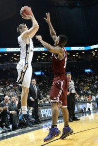 Senior Nemanja Mikic shoots a jumper against UMass on Friday night at the Barclays Center. Samuel Klein | Photo Editor