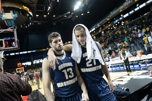 Sophomores Kevin Larsen and Patricio Garino walk off the court after GW's A-10 Championship loss. They'll need to bring their best next season to take down Virginia. Hatchet File Photo