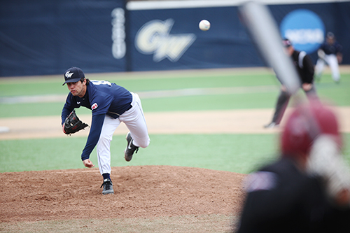 Senior Colin Milon delivers a pitch in a game against Saint Joseph's earlier this season. Hatchet File Photo