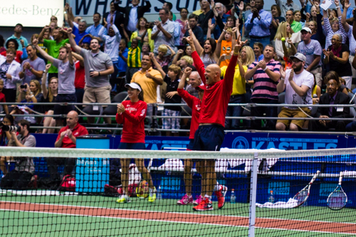 The Kastles react after winning the WTT Eastern Conference Championship. They will look to win their fourth straight National Championship on Sunday. Zach Montellaro | Hatchet Staff Photographer