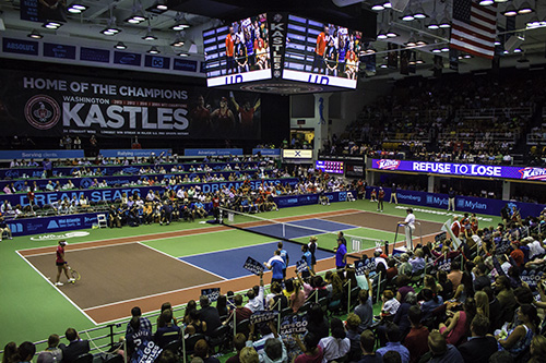 The Smith Center hosted a sold out crowd of tennis fans as the Washington Kastles took down the Texas Wild 3-2. Zach Montellaro | Hatchet Staff Photographer