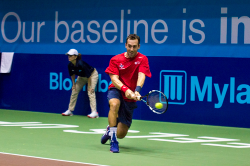 Kastles player Bobby Reynolds fell 3-5 in the men's singles set. Zach Montellaro | Hatchet Staff Photographer