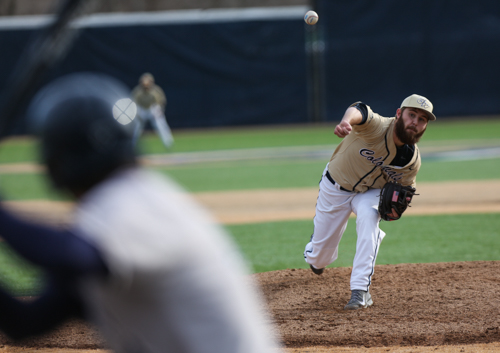 Freshman Robbie Metz throws a pitch during the Colonials 3-0 victory against Georgetown Wednesday. Metz went five innings giving up just four hits and no runs.  He threw 63 pitches, 42 for strikes. Dan Rich | Hatchet Photographer