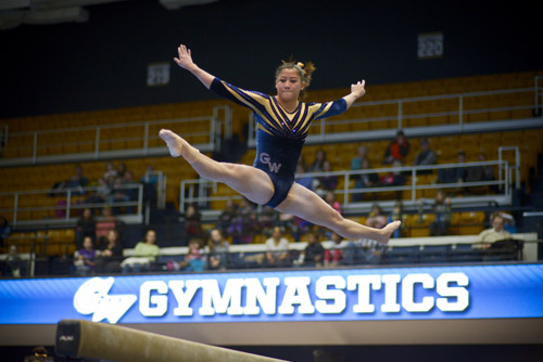 Freshman Liz Pfeiler's performance on the balance beam earned her a team-high score of 9.80.