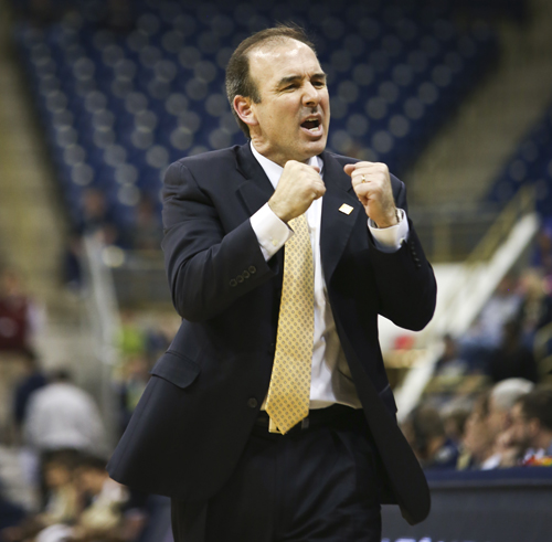 Head coach Mike Lonergan led the Colonials to their first NIT win in program history on Tuesday night against Pitt. Cameron Lancaster | Photo Editor