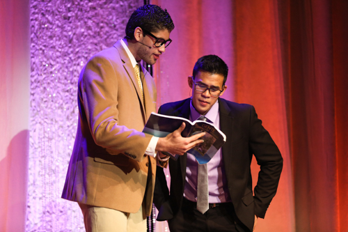 Professor Pato helps co-host Brian Mojica learn spanish at the fourth annual Georgey Awards. Dan Rich | Contributing Photo Editor.