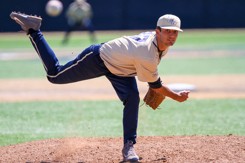 Chance Malek pitched a scoreless two-thirds of a frame in GW's loss to Fordham on Saturday. Zach Montellaro   Hatchet Staff Photographer