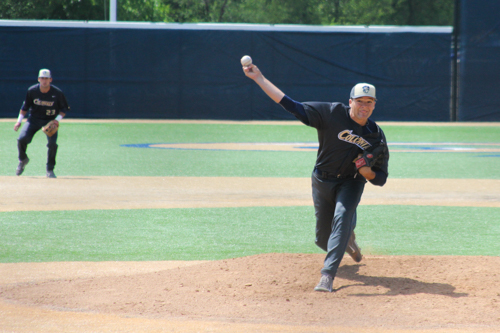 Bobby LeWarne throws a pitch in GW's 4-1 loss to Richmond in the A-10 Tournament Wednesday morning. LeWarne went 7.2 innings giving up four runs, three earned, on four hits. He struck out five and walked two. Nora Princiotti | Hatchet Staff Photographer