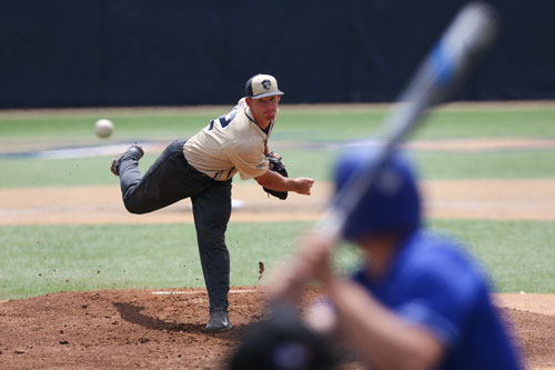 Pitcher Brandon Ritchie only managed to record two outs before being pulled in the Colonials' loss to St. Louis on Saturday. Dan Rich | Contributing Photo Editor.