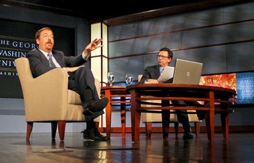 Chuck Todd is one of five new members added to the National Council for Media and Public Affairs. He and other members will help advise SMPA director Frank Sesno, pictured here at a 2011 event with Todd. Hatchet File Photo