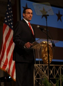 D.C. Mayor Vincent Gray gives his State of the District speech last year. Federal prosecutors are now alleging he knew about the shadow campaign. Hatchet File Photo.