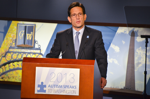 Rep. Eric Cantor, R-Va., spoke in Jack Morton Auditorium Wednesday on autism research.