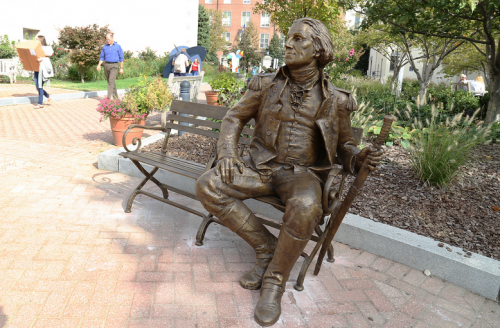 A statue of George Washington is now featured in Kogan Plaza. Photo courtesy of GW Media Relations.