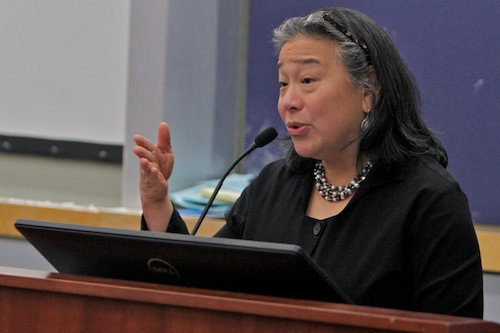 """Chief of Staff to Michelle Obama Tina Tchen spoke to students on Friday afternoon about the """"It's on US"""" campaign, a nationwide sexual assault prevention initiative launched by the White House. Andrew Goodman   Hatchet Staff Photographer"""