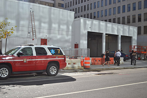 A temporary fire station is being built on L Street between 21st and 22nd streets while the West End fire station undergoes renovations. Aly Kruse | Hatchet Staff Photographer