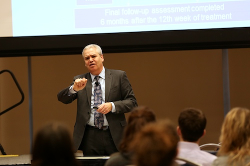 David Jobes, a suicidologist, met with students and answered questions in a presentation Thursday. Jobes met with faculty on campus last week. Dan Rich   Hatchet Photographer