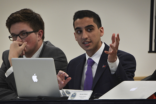 Sen. Thomas Falcigno, CCAS-U, sponsored a resolution passed by the Student Assocation Wednesday night calling for more security after swastikas were posted in International House. Elizabeth Lane   Hatchet Photographer