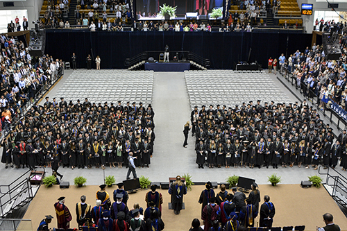 More than 400 students gathered for the GW School of Business commencement on Thursday. Sam Hardgrove | Hatchet Staff Photographer